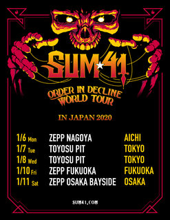 2020年1月にSUM41の単独公演が決定、『ORDER IN DECLINE WORLD TOUR IN JAPAN 2020』