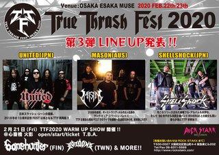 大阪スラッシュ・メタルの祭典「TRUE THRASH FEST2020」第三弾ラインナップ発表&WARM UP SHOW開催決定