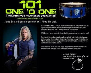 TREATのドラマー、ジェイミー・ボーガーが101 Drumsよって製作されたシグネイチャー・スネアを動画で紹介!