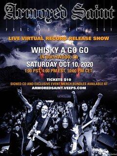 USパワー・メタル・レジェンドARMORED SAINT が10月10日PM4時(日本時間11日AM6時)に伝説的なライブハウス「Whisky A Go-Go」よりライブ配信!