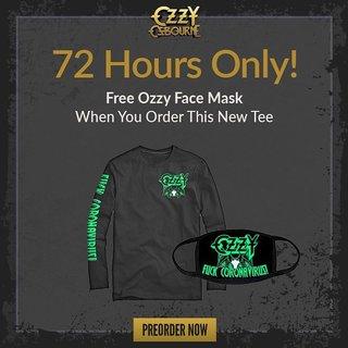 ド直球フレーズ!オジー・オズボーンが新型コロナウイルス関連商品として長袖Tシャツとマスクを販売!