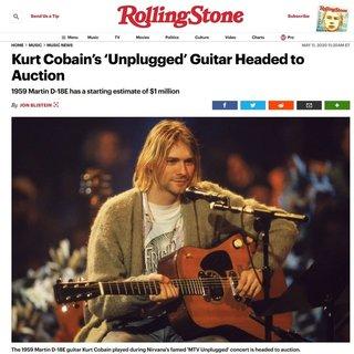 1億円超えから開始。故カート・コバーンがMTV Unpluggedで使用したギターが6月にオークションへ