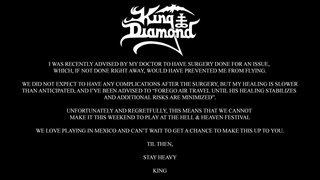 KING DIAMONDは療養のため、メキシコの<Hell & Heaven Metal Fest>をキャンセル