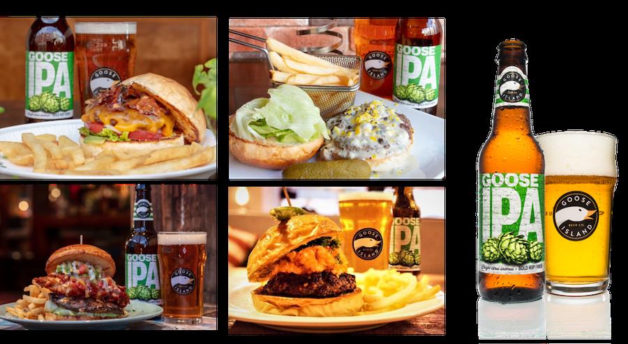"""全国4店舗で、オリジナルの """"GOOSE IPA×ハンバーガー"""" を期間限定で提供"""