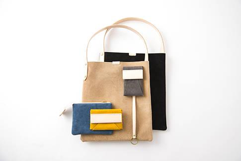 「tesage-bag」(1万3,000円) /「komono-ire」(7,000円)/「kagi-ire」(6,500円)/「tefuda-ire」(5,000円)