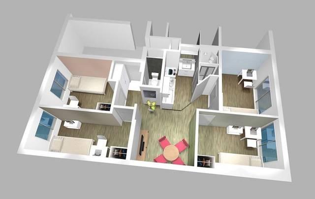 1戸 / 鳥瞰図(1戸に4個室と共有スペースを配置)
