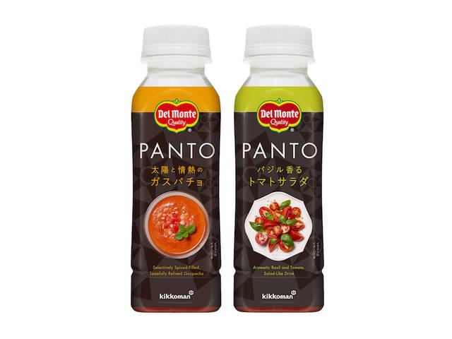 左「デルモンテ PANTO 太陽と情熱のガスパチョ」、右「同 バジル香るトマトサラダ」各240円(税別)