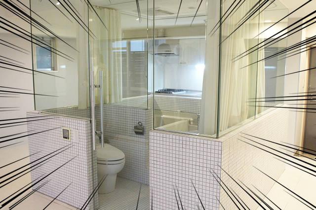 鏡張りバストイレ