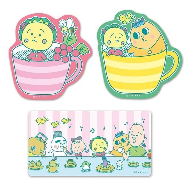 ステッカー(カップピンク/カップイエロー/コジコジメルヘンカフェ)各300円(税別)