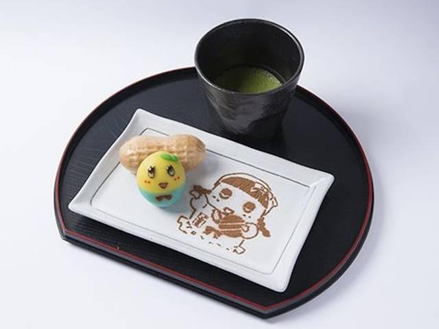 1日20食限定「本格抹茶セット ふなっしー型オリジナル生菓子付き」1,200円