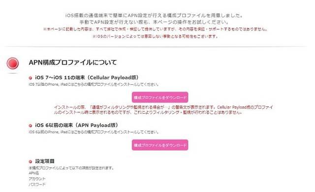 iOS APN構成プロファイル | IIJmio (2987)