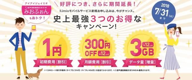 IIJmio 史上最強3つのお得なキャンペーン!
