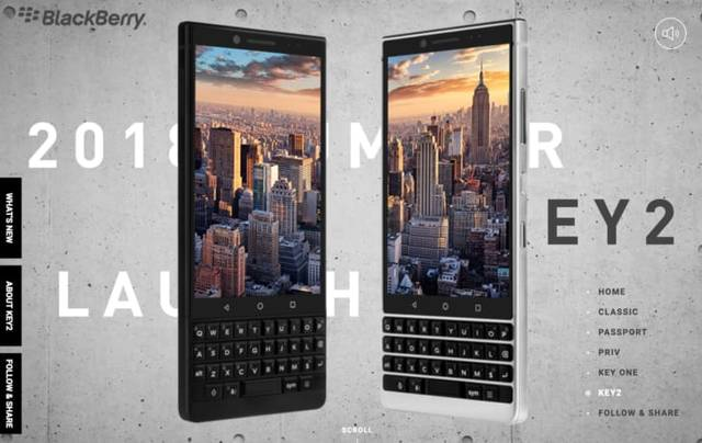 BlackBerry KEY2 製品ページ