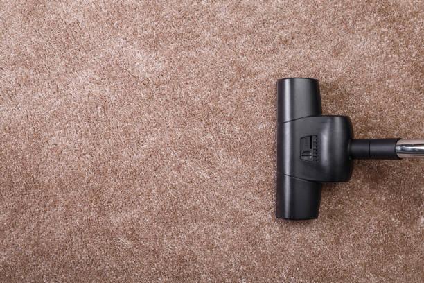 Vacuuming carpet with vacuum cleaner. Housework.