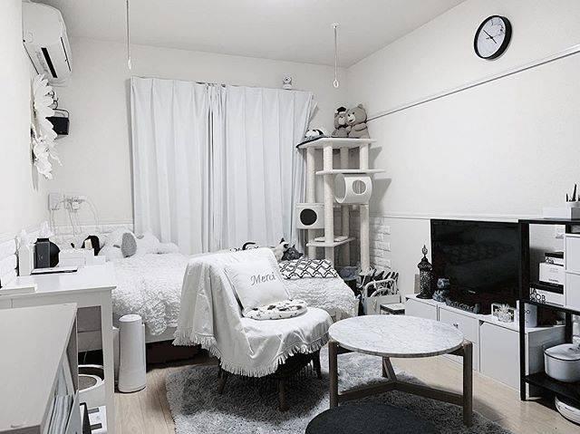 カーテンやファブリックをはじめ、テレビ台、テーブルなどの家具も白で揃えています。