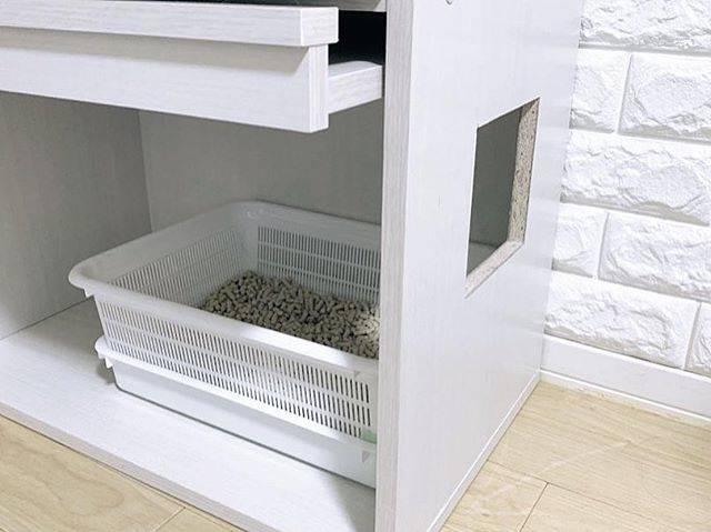 ノコギリでサイドに穴を空け、猫の通り道をつくることで、ラックの扉を閉めてトイレを目隠しすることが可能に。
