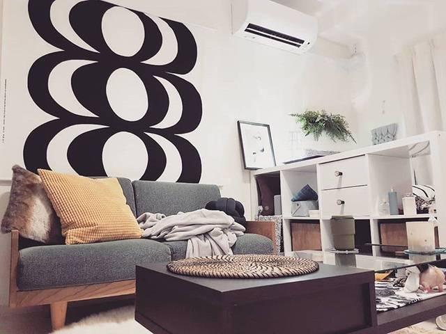 マリメッコのKAVIOのテキスタイルが素敵。飾り付けは、楽天で購入した「タペスタリーキット」(3,240円)を使用