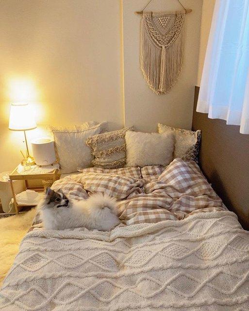 秋冬仕様にアップデートされた寝室