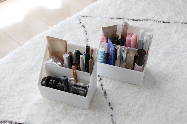 毎日使う化粧品とたまにしか使わない化粧品を分けて収納