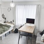 6.8畳1K塩系インテリア。 部屋を広く見せるためのポイントとは? - とりぐら 一人暮らしの毎日がもっと楽しく