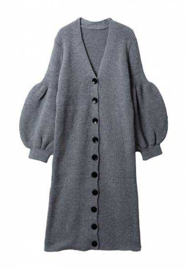 Puff sleeve knit one-piece