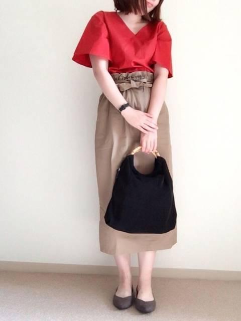 【ブランド:merlot 】ハイウエストリボンスカート