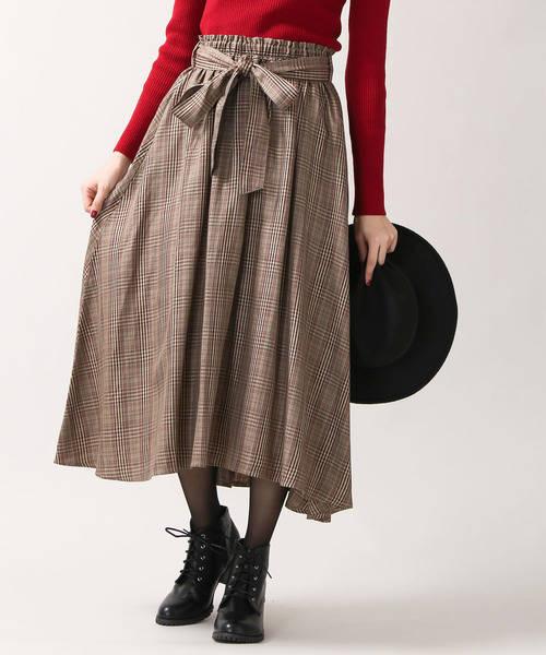 【ブランド:WEGO】リボンベルトイレヘムミディスカート