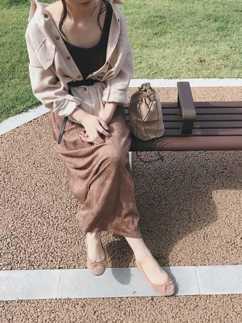 【ブランド:Re:EDIT】スエードタッチスリットタイトスカート