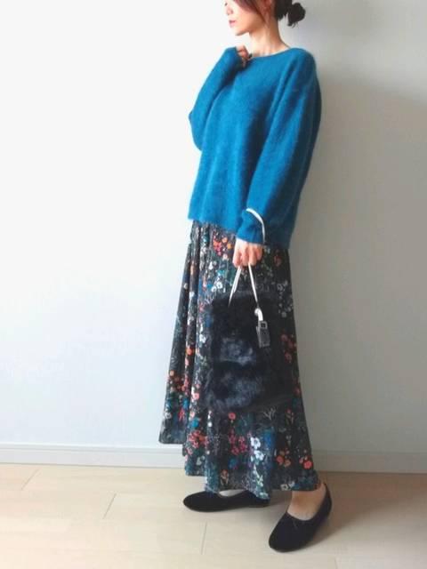 大人の花柄ロングスカート