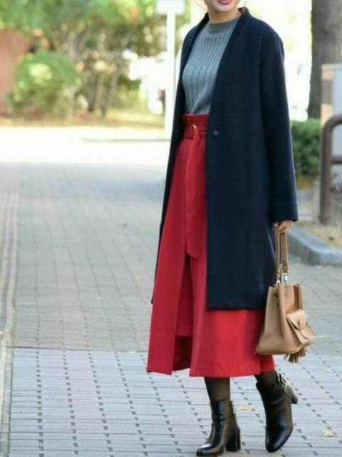 きれいめ大人女子赤スカートコーデ