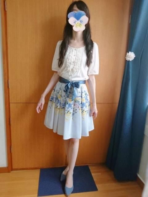 リボンスカートを使った夏コーデ