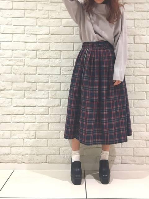 チェック柄スカートを使ったコーデ