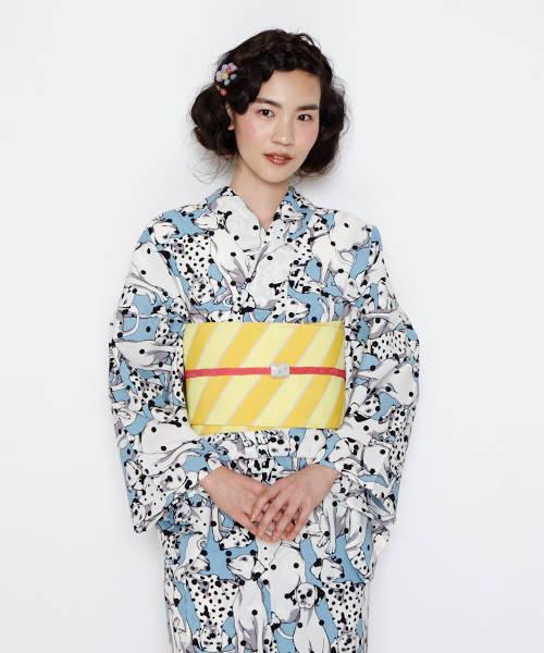ダルメシアン柄の浴衣×オレンジの帯締め×長方形の帯留めコーデ