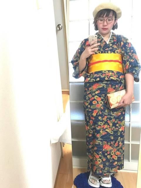 黄色帯の浴衣コーデ
