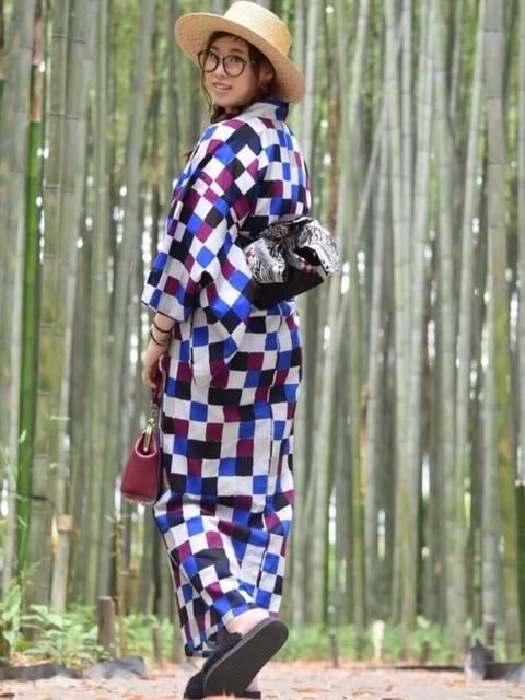 カラフル市松模様の浴衣コーデ