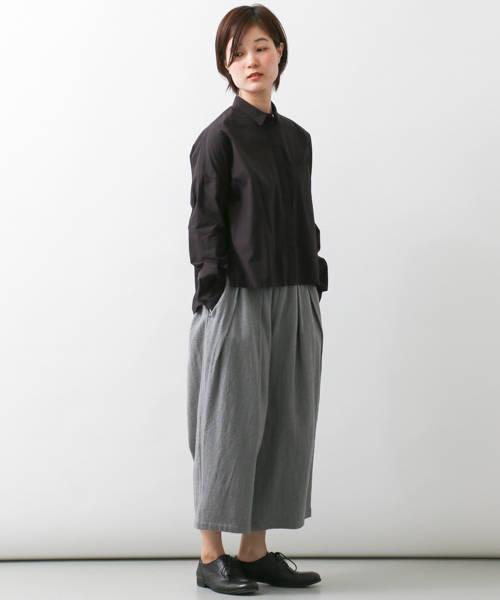 レディース人気ブランドかぐれのコットンワイド黒シャツ
