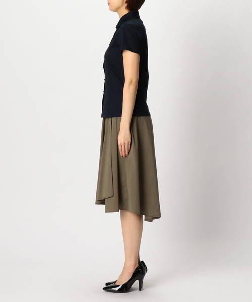 夏のレディース黒シャツコーデ:NARACAMICIE半袖カットソーシャツ