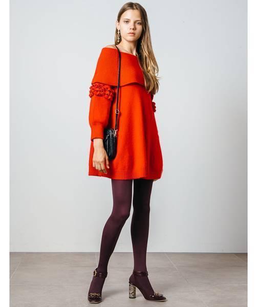 Lily Brown50年代ファッション風オフショルAラインニットワンピースコーデ