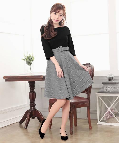 Nina50年代ファッション風フレア七分袖ドッキングワンピースコーデ