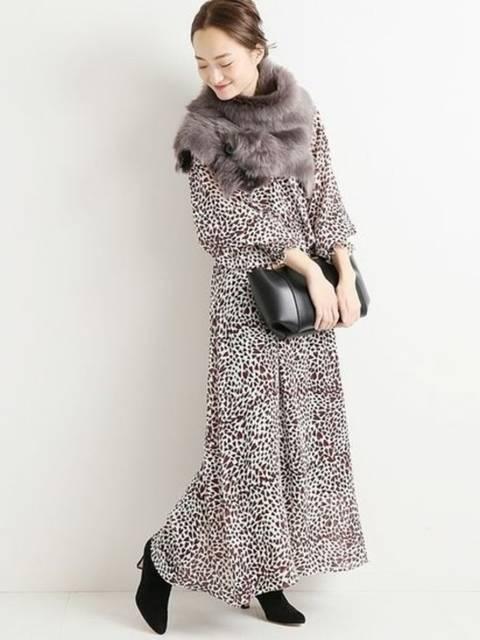 50年代ファッション風VERMEIL par ienaのHEART PRINTワンピース