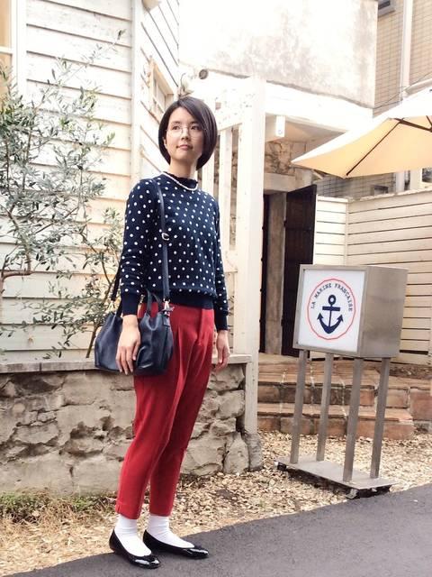 LA MARINE FRANCAISEサブリナパンツ50年代ファッション風冬コーデ