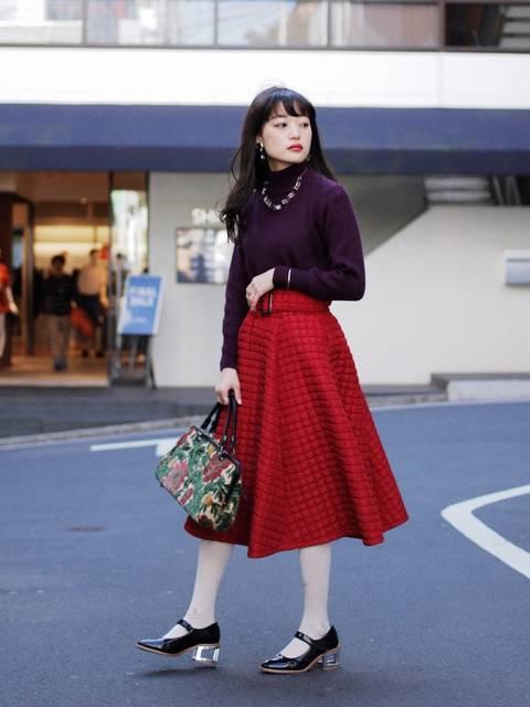 50年代ファッション風Grimoireサーキュラースカートの着こなし