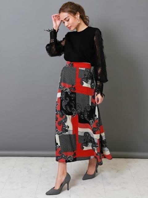 50年代ファッション風Allugeペイズリーフレアースカート冬の着こなし