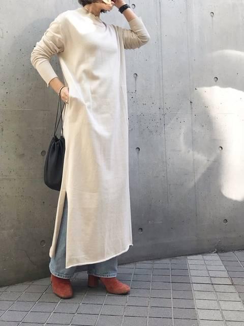 FABIO RUSCONIショートブーツとニットワンピコーデ