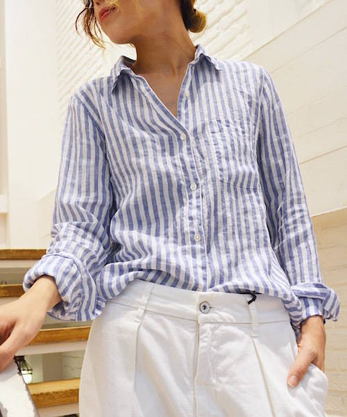 YANUK '' Standard Shirts '' 麻ストライプシャツレディースコーデ