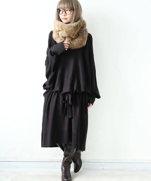 n'Or ロングニットワンピースレディースファッションコーデ