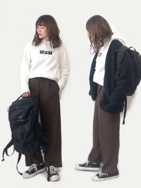 select MOCAのワイドパンツとボアジャケットコーデ