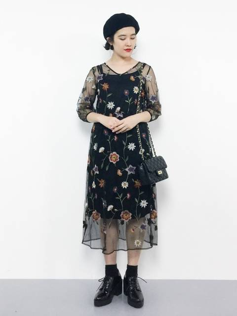 natural coutureのチュールワンピースコーデ