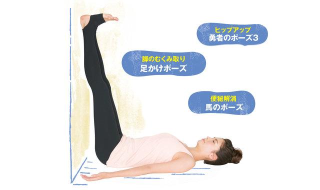 ぐっすり眠れて、脚やお腹が細くなる「寝る前 壁ヨガ」