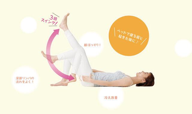 寝ながら足を振る「深部リンパ流し」で、ほっそり美脚に
